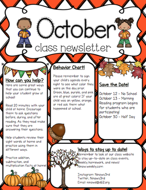 6863091 October Clroom Newsletter Template Generator on