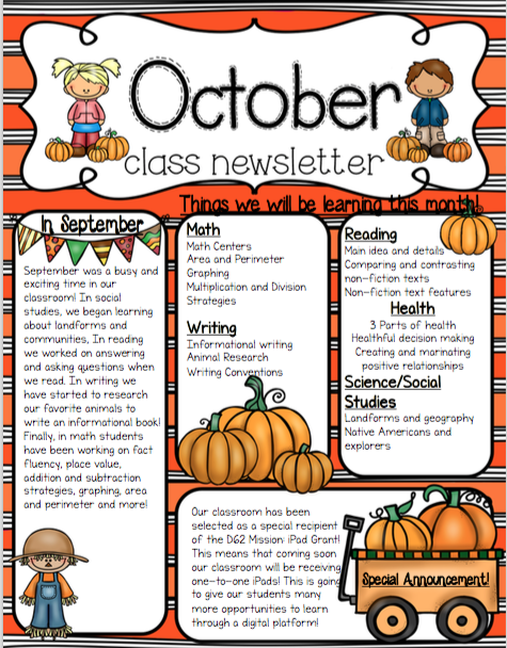 8849325 October Clroom Newsletter Template Generator on